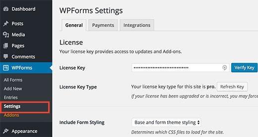 addons within your WordPress dashboard