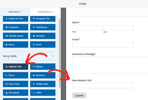drag and drop the form fields.