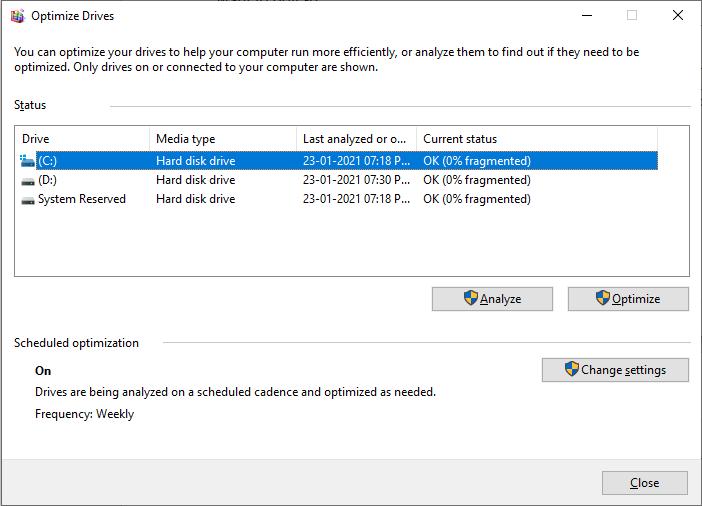 Defrag your hard disk