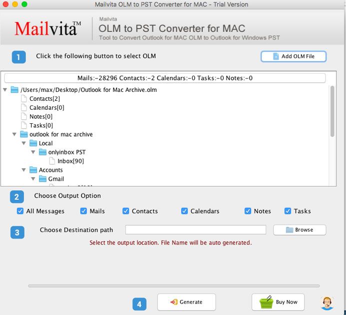 tool to convert OLM to PST –