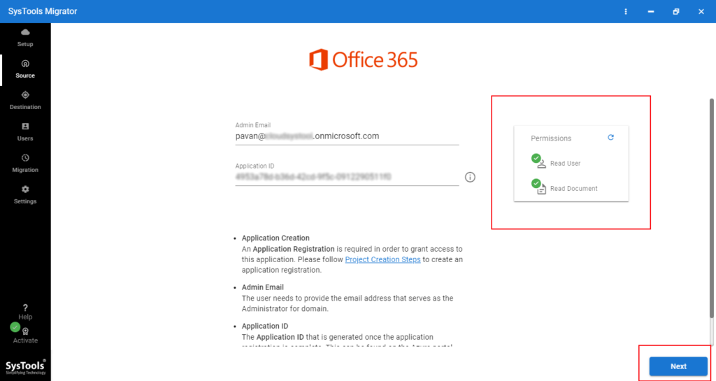 Office 365 source Admin ID