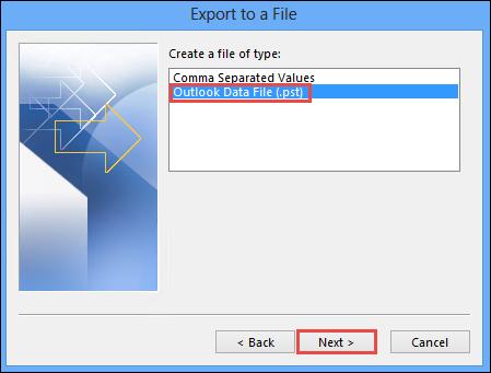 Outlook data file