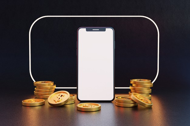 blank-screen-mobile-phone-with-golden-coins-3d-rendering_265427-251
