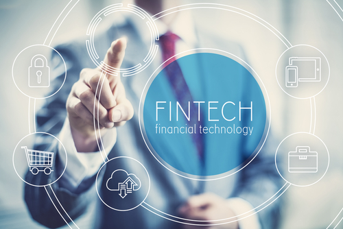 Future,Of,Financial,Technology,Concept,Businessman,Selecting,Fintech,Word