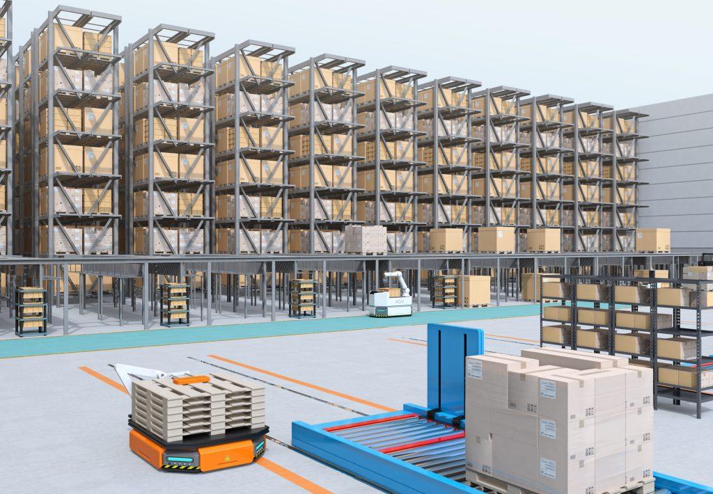 Modern Automated Logistics Center's interior. AGV and autonomous forklift carrying goods. Concept for automated logistics solution.