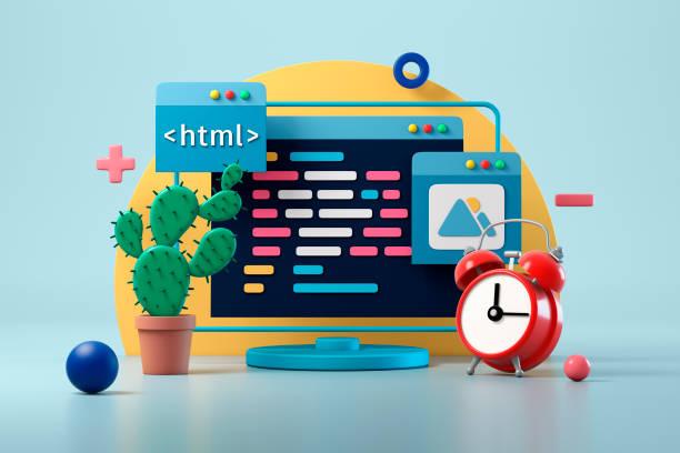 Workplace of a web designer or programmer. 3d illustration
