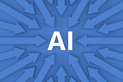 3d rendering of Artificial Intelligence AI Text with Arrows.